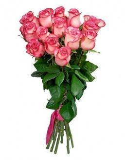 Bouquet of 15 pink roses | Pink roses flowers
