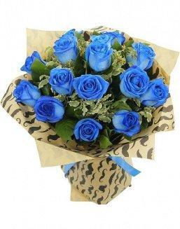Bouquet of 15 blue roses | Blue roses flowers