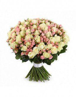 Mix bouquet of 25 white/pink spray roses | Pink roses flowers