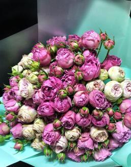 Bouquet of 15 pink spray roses | Pink roses flowers
