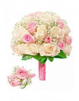 Bouquet of roses: cream and pink | Pink roses flowers