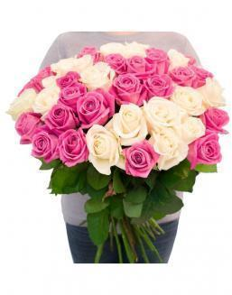 Bouquet of roses: white and pink | Pink roses flowers