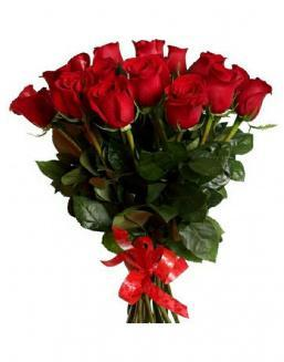 21 long red roses deluxe