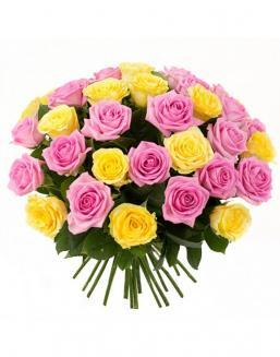 Bouquet mix of 33 pink and yellow roses | Pink roses flowers